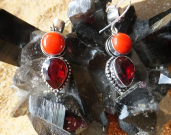 Red Coral, Garnet and Sterling Silver Earrings....1.75 inches in length