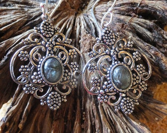 Labradorite and Sterling Silver Vintage Earrings....1.75 inches