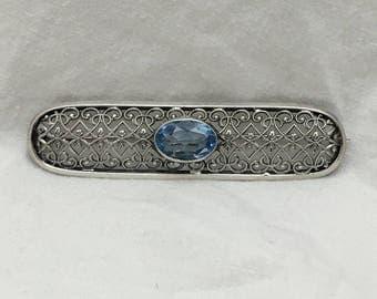 "Antique Silver Filigree and Awuamarine Pin, 2 1/2"" L x 5/8"" W"