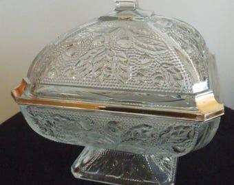 Pressed Glass Footed 2 Piece Candy Dish
