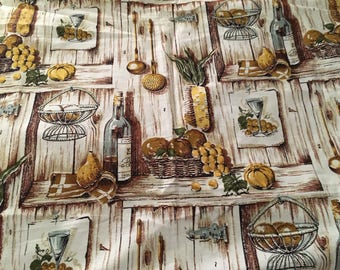 Vintage kitchen print ,Cotton fabric, screen printed,1960's ,Yellow and Brown and grey