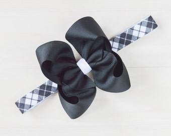 Plaid baby headband, newborn headband plaid, preppy infant headband, black and white plaid headband