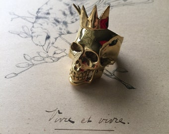 Crowned skull gold plated brass ring