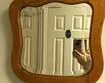 Antique Oak Framed Beveled Glass Mirror