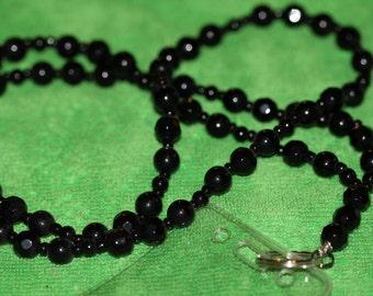 SIMPLY BLACK Beaded Lanyard (ID Holder)
