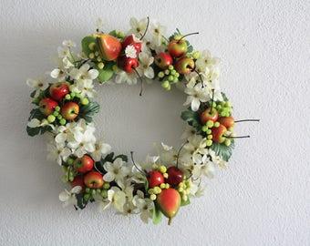 Flower wreath, wedding wreath ,summer wreath , cherry wreath, door wreath, kitchen wreath, garden shabby chic