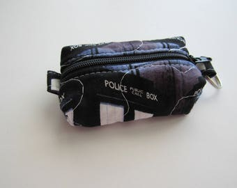 Teeny, Tiny, Miniature Duffle bag. Zipper Pouch, Keychain Pouch, Coin Purse, Keyring, Doctor Who, Tardis