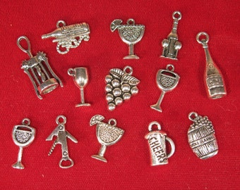 """SET! 13pc """"wine"""" deluxe charms set in antique silver style (CS4)"""
