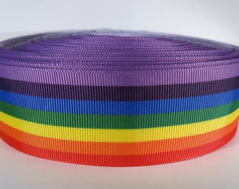 "5 yards of 1.5 inch ""rainbow"" grosgrain ribbon"