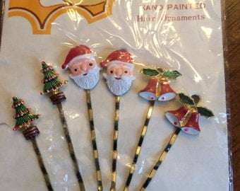 Vintage 60's Holiday/Christmas Hand Painted Enamel Bobby Pins