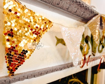 Sequin Pennant Banner, Sparkle Garland Gold Iridescent White for Wedding Photography Bridal Shower Ceremony Aisle Pew Decorations Photo Prop