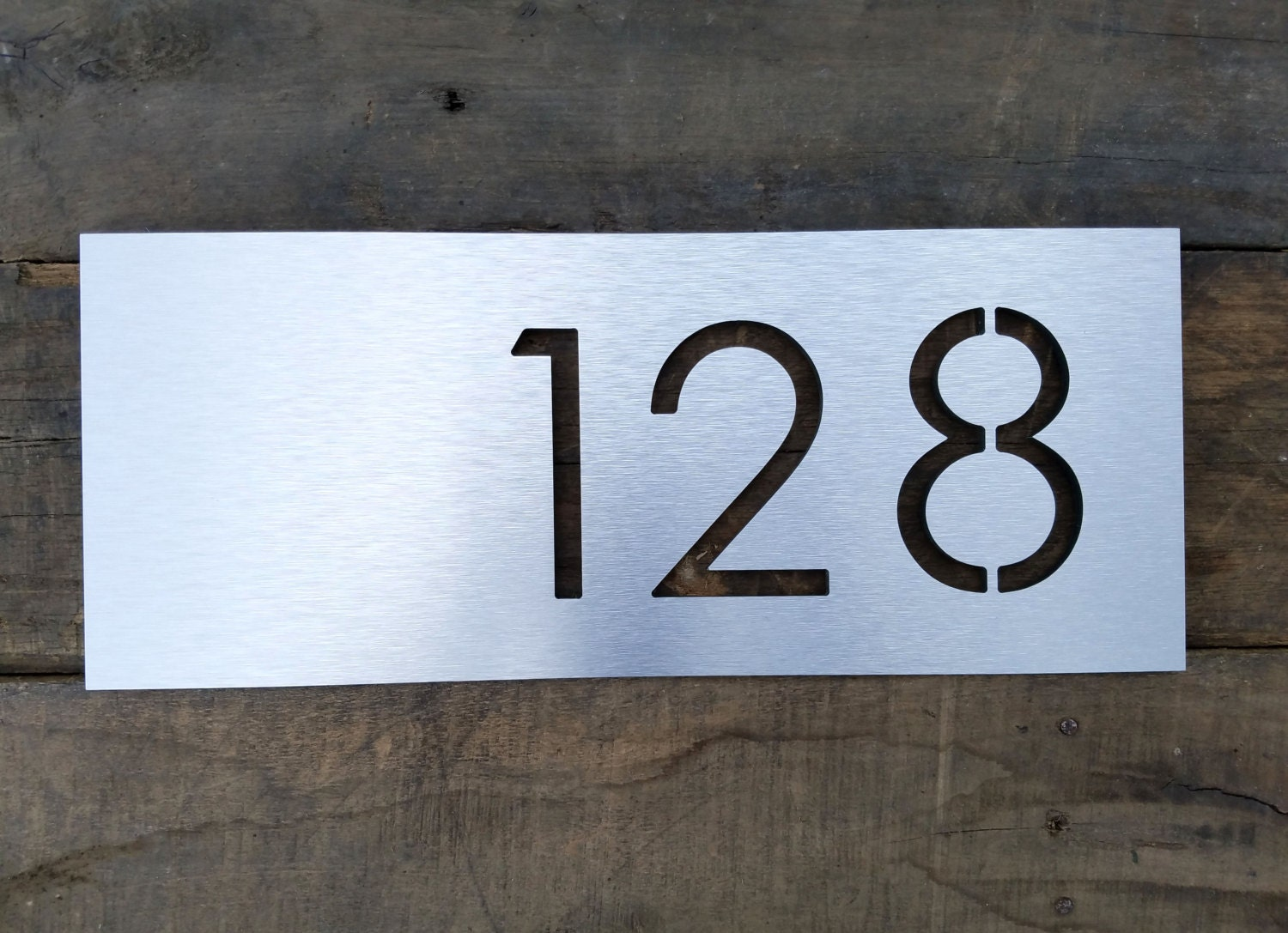 Address plaque modern house numbers brushed metal horizontal for Modern house number plaques