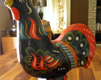 "Rare LARGE Vintage Swedish ""Dala"" Rooster--10"" H x 9"" L x 2-3/4"" W--Akta Dalahemslojd/G.A. Olsson--Direct from Sweden!"
