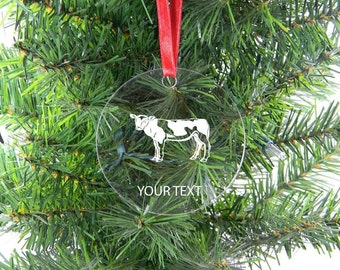 Personalized Custom Cow Clear Acrylic Christmas Tree Ornament with Ribbon
