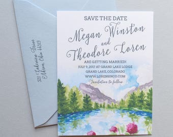 Mountain Wedding Save The Date 150, 5 x 7, Watercolor Lake Save the Dates, Spring Mountains Rustic Save the Date Cards