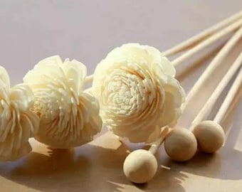 Flower reed and Woodball reed Set - Replacement handmade flower rattan stick for home fragrance diffuser