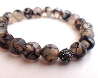 Dragon Veins Agate bracelet , Agate Bracelet. Beaded bracelet woman. Healing bracelet woman