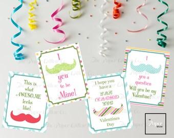 Mustache Valentine-DIY Printable-Holiday Card-INSTANT DOWNLOAD-Holidays-Valentine-Mustache