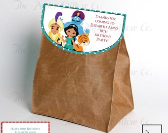 Jasmine-Aladdin-Inspired-Birthday-Party Favor-Bag Tops-INSTANT DOWNLOAD-Party-Party Supplies-Birthday-Birthday Party Decor-Favors