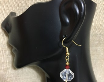 Faceted Crystal Glass & Burgandy Swarovski Crystal with Gold Accents Dangle Earrings