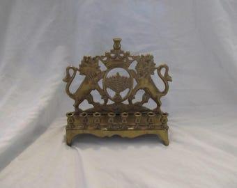 Brass Lion Menorah Candle Holder