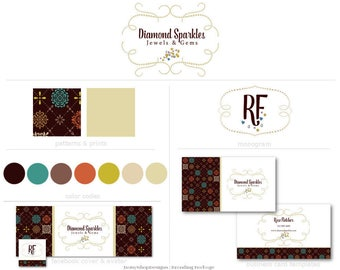 Branding Set,Logo,Monogram,Facebook Timeline Cover,Double Sided Business Card Templates-Diamond,Jewelry-Brown,Gold,White-Watermarks Files