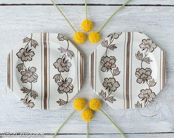 2 Small Vintage Ironstone Plates - Brown and White Dessert Plates - Royal Staffordshire - Lotus Plates