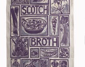 Scotch Broth illustrated recipe tea towel; screen printed linocut print traditional british cooking; scotland, scottish recipe highlands