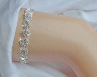 Wedding Garter, Bridal Garter, Crystal Rhinestone Garter, Silver Garter, Diamond Garter, Rhinestone Garter, Something Blue, Weddings