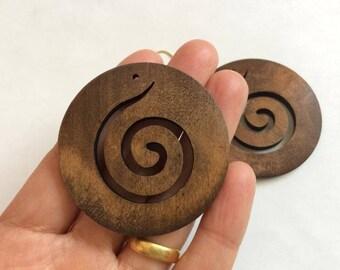 4pcs  49mm  Big wood earring /pendant-dye brown (NW350)