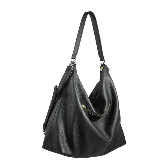 NELA Leather Hobo Bag LARGE Black