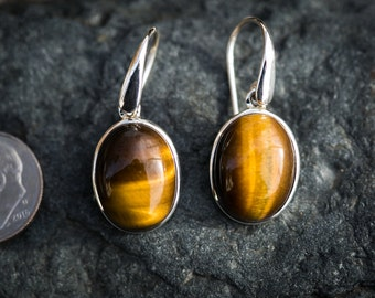 Tiger Eye Earrings - Tigers Eye Dangle Earrings - Tigers Eye Earrings - Tigers Eye Sterling Silver Dangle Earrings - Tiger Eye Earrings
