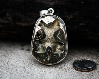 Pyritized Ammonite Pendant - Natural Pyrite Ammonite - Ammonite Pyrite necklace - Ammonite Jewelry - Millions of Years old Fossil Pendant