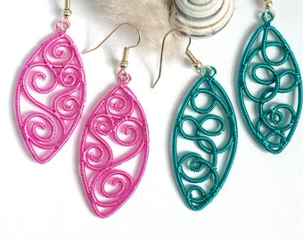 Turquoise wire earrings,pink wirewrapped fantasy earrings,woven wire earrings,twisted wire jewelry,romantic earrings,One of a kind jewelry