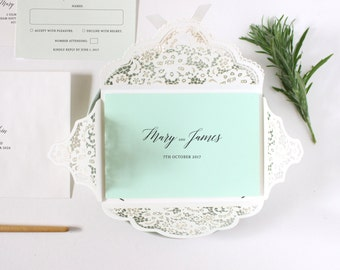 Mint Wedding Invitation Suite, Green Wedding Invitation Laser Cut, Lace Wedding Invitations Australia, Lace Envelopes
