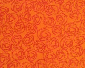 One Half Yard of Fabric Material - Orange Swirls