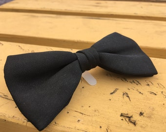 Vintage Black  Bow Tie with plastic clip.