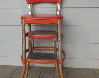 Red Cosco Vintage Metal Step Stool