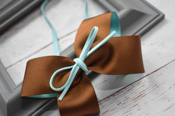 Chocolate brown and aqua bow headband - Baby / Toddler / Girls / Kids Headband / Hairband / Hair bow / Barrette / Hairclip