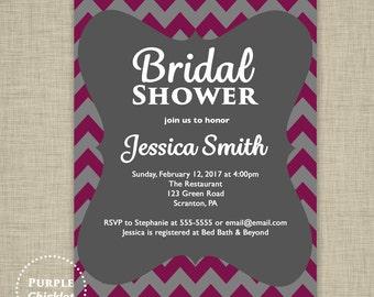 Red Wine Gray Bridal Shower Invitation Burgandy Cranberry Maroon Chevron Invite Adult Party Invitation Digital Party Invite JPEG file 2d