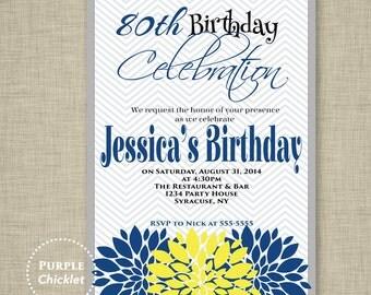80th Birthday Invitation Navy Blue Yellow and Gray Chevron Flower Bursts Adult Party Invite DIY PRINTABLE JPG File Invite 30a