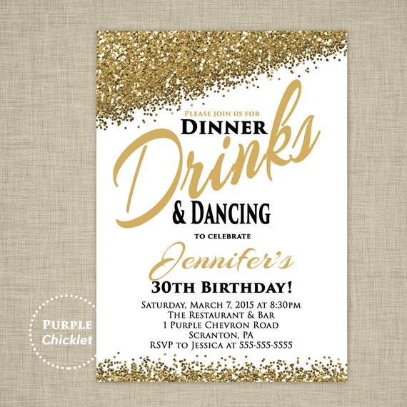 30th any age birthday invitation dinner drinks and dancing, Birthday invitations