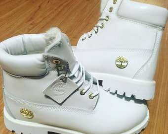 White and Gold Timberland Men