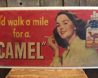 RARE Vintage 1948 I'd Walk A Mile For A CAMEL Cigarettes Advertising Sign 28x14