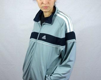 Vintage Late 90s Adidas Jacket Jogging Sport Sportwear White Grey Hip Hop Rap Zip L Large Mens Men Womens