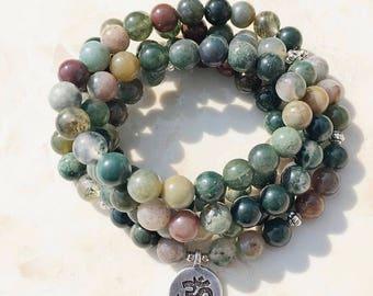Moss Agate Mala 108 Bracelet or Necklace, OM Charm, Yoga, Meditation, Buddha, Prayer jewelry, 8mm Free Shipping