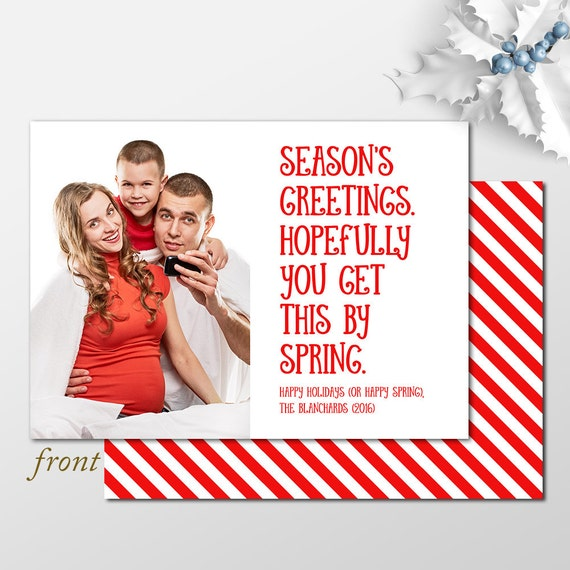 Custom belated christmas card funny holiday photo cards photo il570xn m4hsunfo