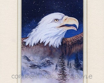 DOUBLE MATTED EAGLE; 8 x 10 inch mat, printed on 110 lb card stock, wall art, wildlife, bird of prey, nature,