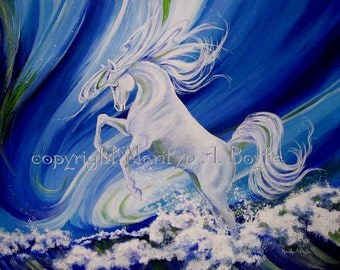 ORIGINAL ACRYLIC PAINTING; Canadian art, wall art, white horse, waves, sea, blue color, fantasy look, home decor, retirement, Mother's Day,