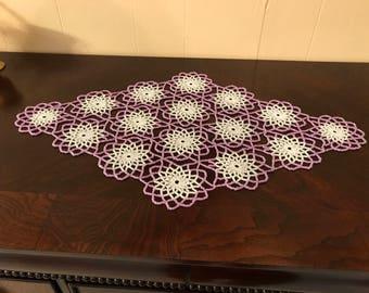 Hand Made , Rose & White Crochet Beaded Doily